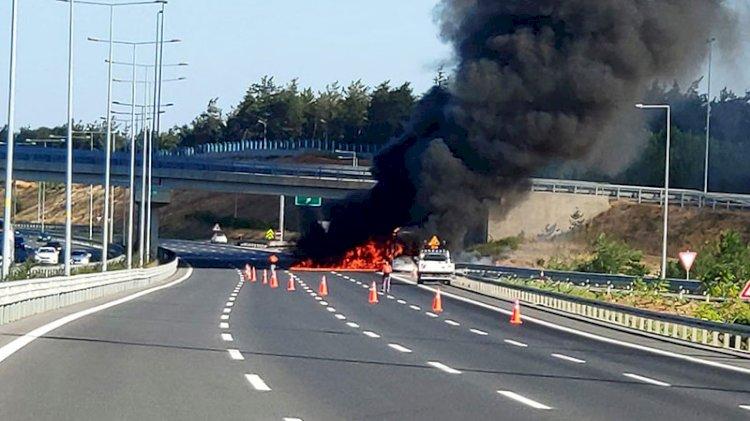 Çekmeköy'de yolcu otobüsünde yangın
