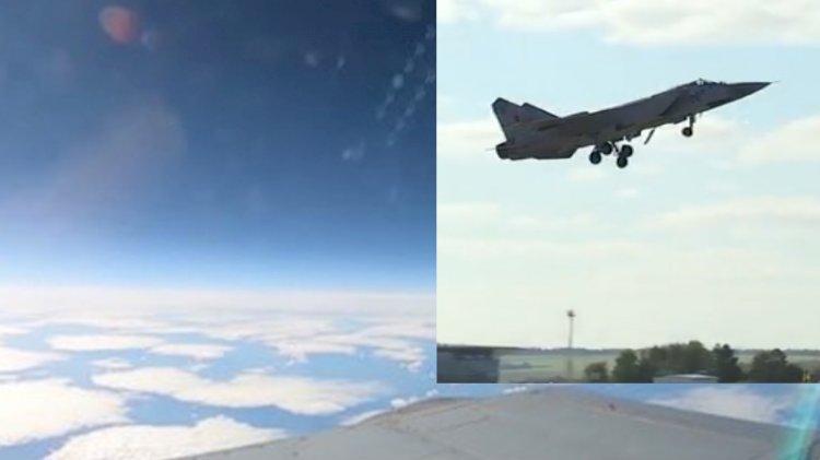 Rus savaş uçağı stratosfere çıktı! İşte o görüntüler