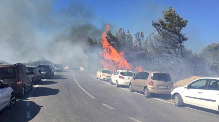 İzmir'de onlarca araç alev alev yandı