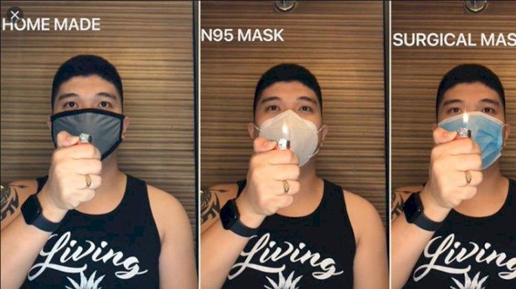 Altı farklı maske türünün etkisini, çakmakla çektiği videolarla gösteren genç