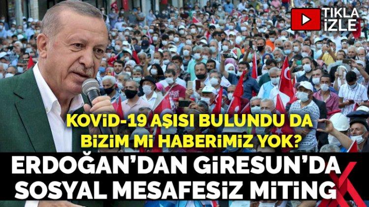 Koronavirüs hiçe sayıldı: Erdoğan'dan sosyal mesafesiz Giresun mitingi
