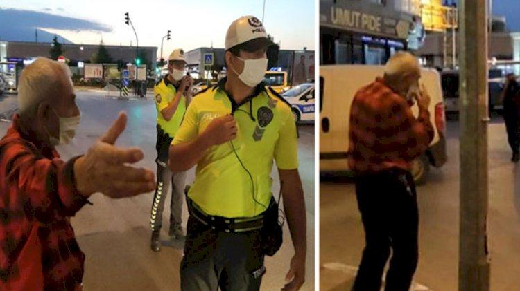 Maske cezası alan yaşlı adam maskesini çıkartıp yoluna devam etti