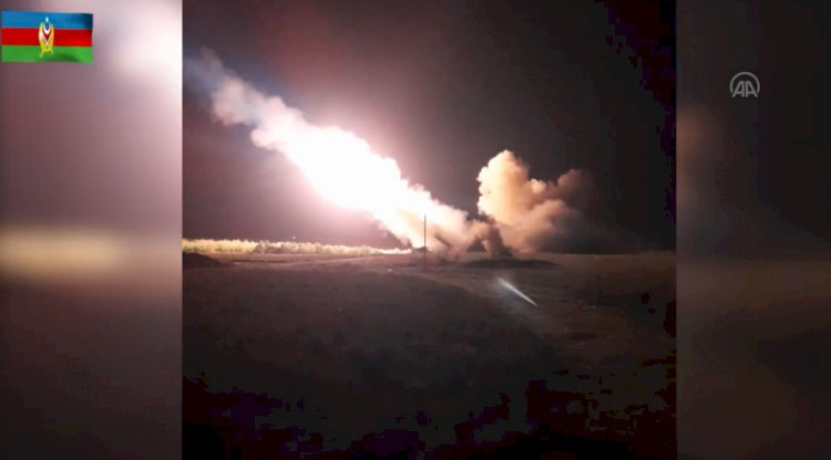 Azerbaycan'dan ezici topçu saldırısı! İşte o görüntüler