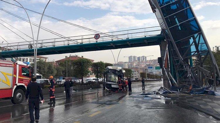 Ankara'da belediye otobüsü üst geçit asansörüne çarptı: Yaralılar var