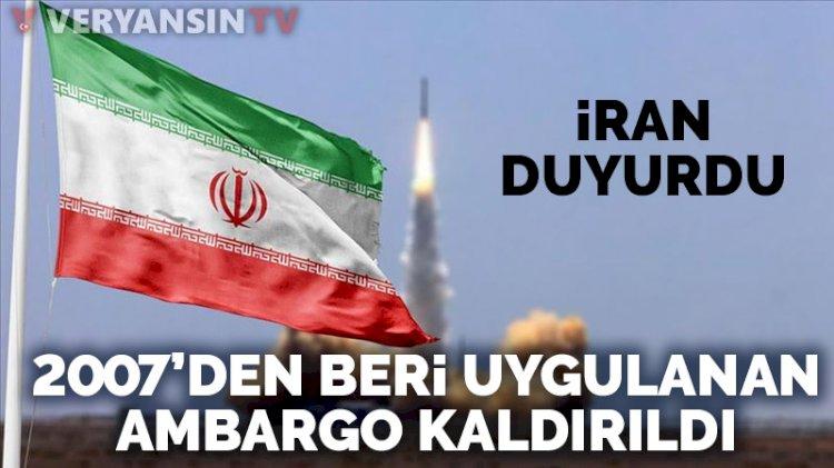 İran, BM'nin 2007den beri uyguladığı silah ambargosunun kaldırıldığını duyurdu