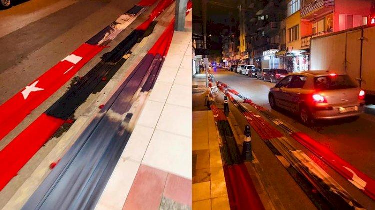 Türk bayrağı ve Atatürk posterleri yola serildi! Skandal görüntülere soruşturma