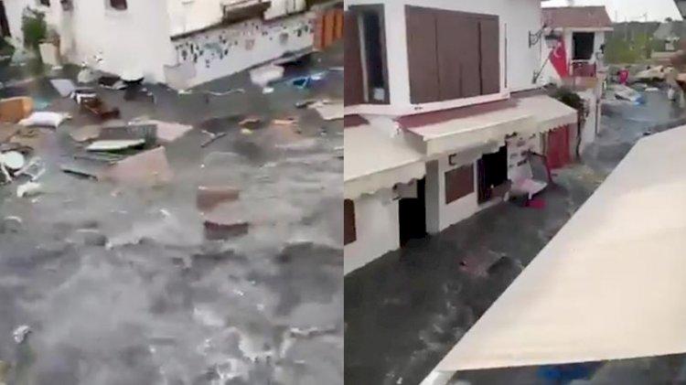 İzmir'de deprem sonrası deniz taştı