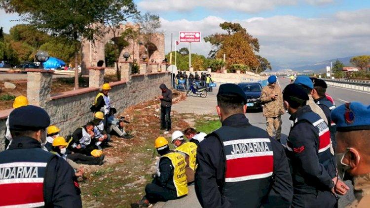 Ankara'ya yürümeye çalışan madencilere müdahale