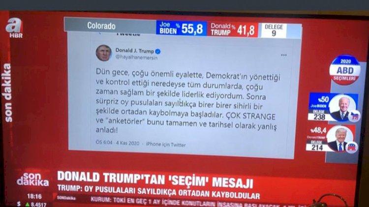A Haber'de sahte hesaptan Trump tweet'i okundu