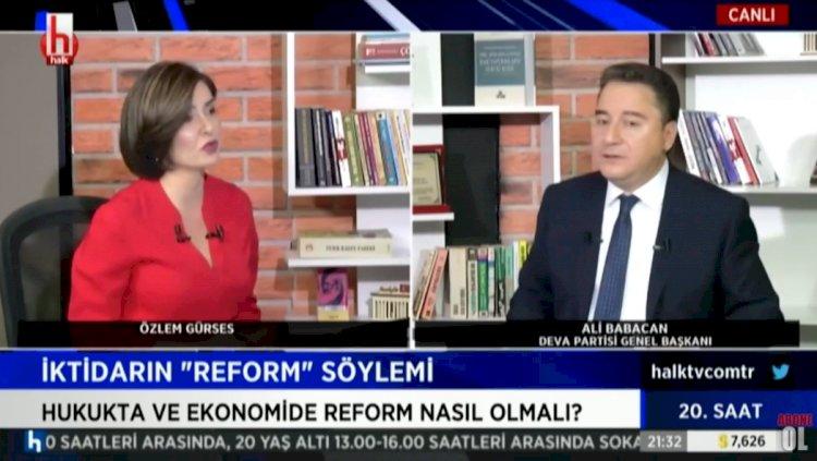 Babacan'dan Halk TV'ye canlı yayında övgü: Oldukça özgün bir yayın çizgisi var
