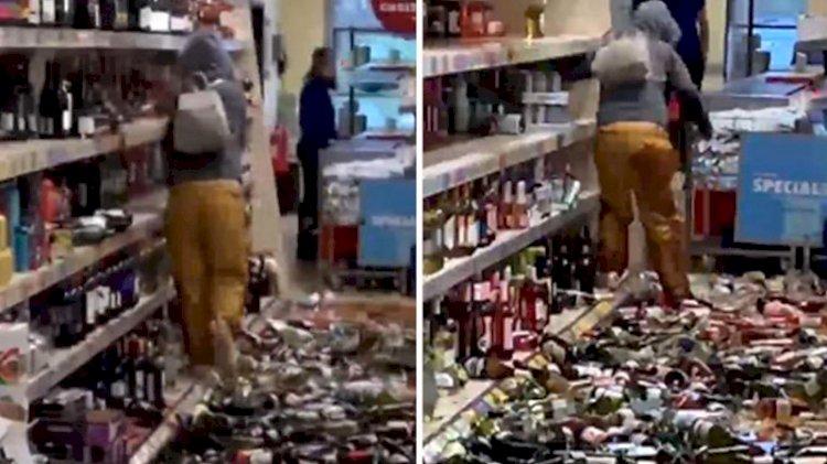 Sinir krizi geçiren müşteri marketi birbirine kattı