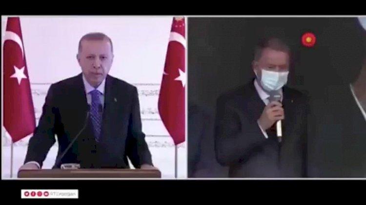 Erdoğan'ın katıldığı törende 'sabotaj' sesleri... Bakan Akar dürttü