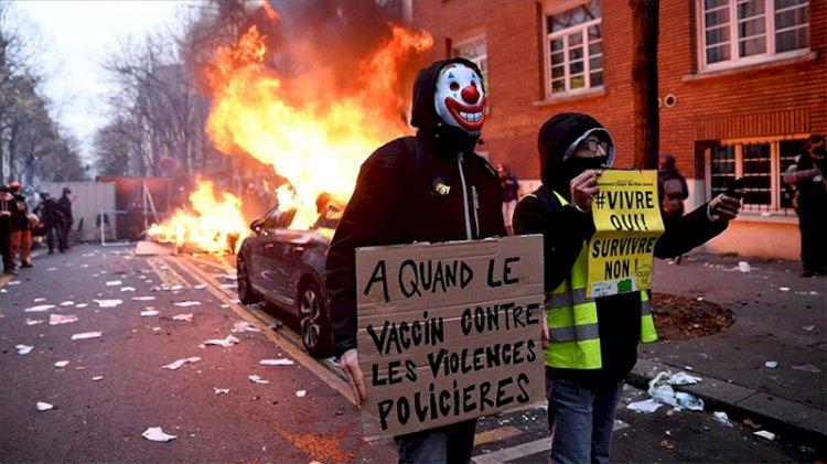 Fransa'da güvenlik yasa tasarısının protesto edildiği gösterilerde şiddet olayları yaşandı