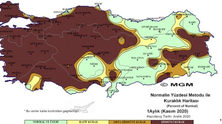 Meteorolojinin haritasında 'çok şiddetli' kuraklık görüntüsü