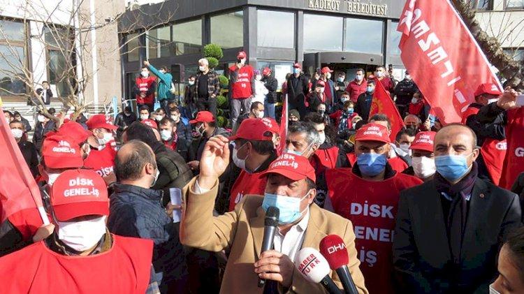 Kadıköy Belediyesi şirketinde işçiler eylemde