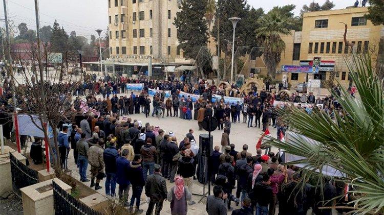 Esad taraftarlarından Haseke'de PKK/PYD karşıtı gösteri