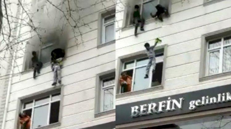 Yangında can pazarı: Çocukları penceren attı, vatandaşlar tuttu