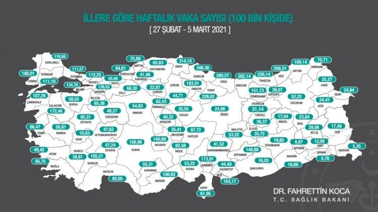 İllerin haftalık vaka sayısı haritası açıklandı