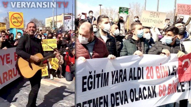 Atanmayan öğretmenler Ankara'dan seslendi… Haluk Levent'ten şarkılı destek