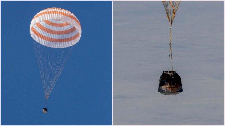 3 astronot dünyaya böyle döndü