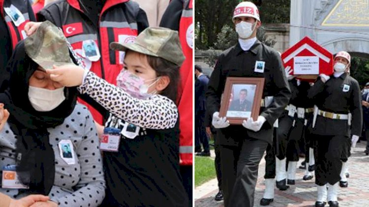 Şehit kızından duygulandıran hareket: Ağlayan annesine asker kepi taktı