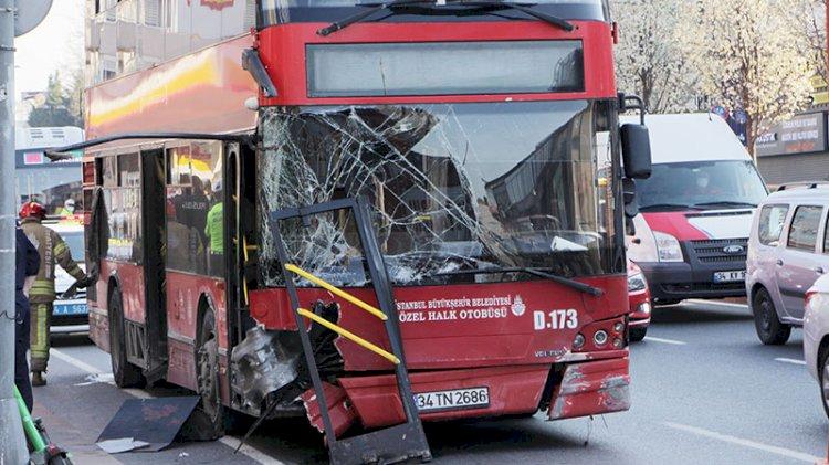 Beşiktaş'ta İETT otobüsü kaza yaptı