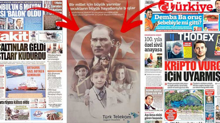 23 Nisan'ı görmezden gelen gazetelere tam sayfa 23 Nisan reklamı