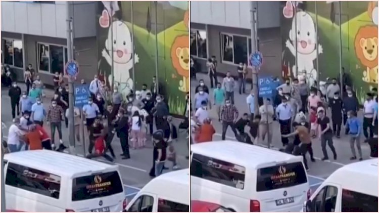 Taksicilerin 'müşteri alma' kavgasında tekme ve yumruklar havada uçuştu
