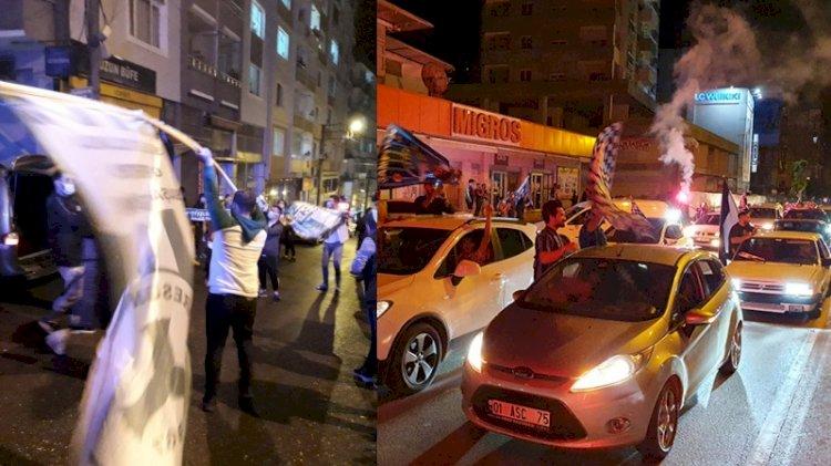Tam kısıtlamada Adana Demirspor ve Giresunspor taraftarları Süper Lig'i sokakta kutladı