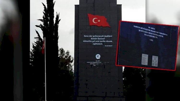 Şehitlik Anıtı'ndan Atatürk'ün adı çıkarıldı