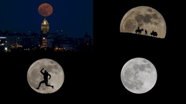 'Süper ay' görsel şölene dönüştü