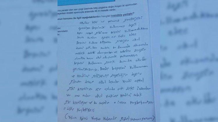 Köyde yaşayan LGS öğrencisi kitapçığa not bıraktı: Beynini kullanmak gerek bunu da okulda öğretmiyorsunuz