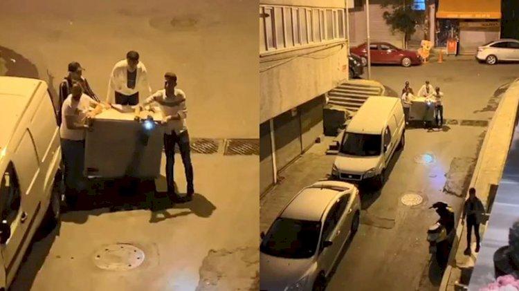 Elektrikli scooterla buzdolabı taşıdılar