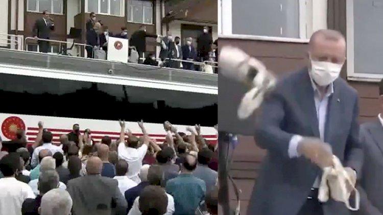 Erdoğan, sel mağdurlarına çay attı