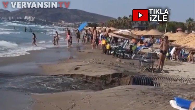 Kuşadası'nda kanalizasyon patladı… Kirli su denize aktı