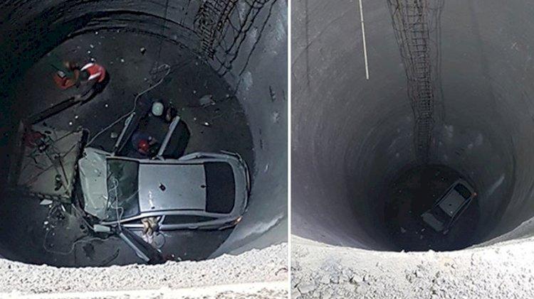 Feci kaza! Otomobil 25 metrelik çukura düştü