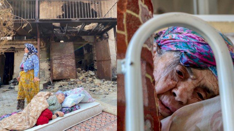 Yanan evinin önünde yatan 87 yaşındaki Fatma Teyze yürekleri sızlattı