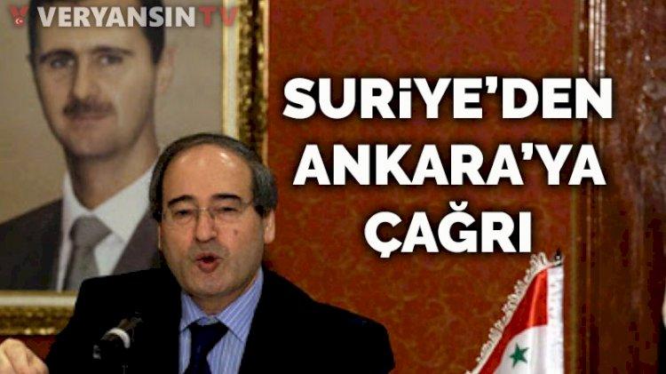 Suriye yönetiminden Ankara'ya çağrı